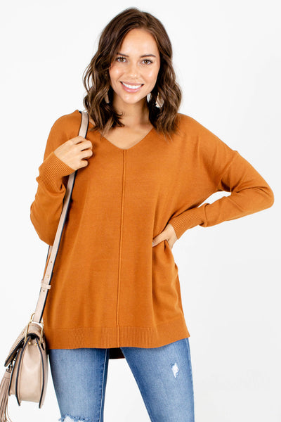 Orange V-Neckline Boutique Sweaters for Women