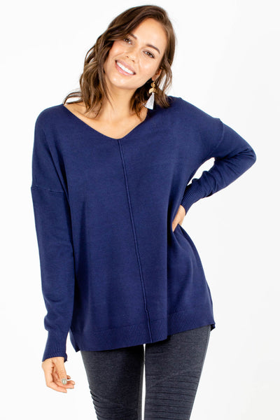 Navy Blue Cozy and Warm Boutique Sweaters for Women
