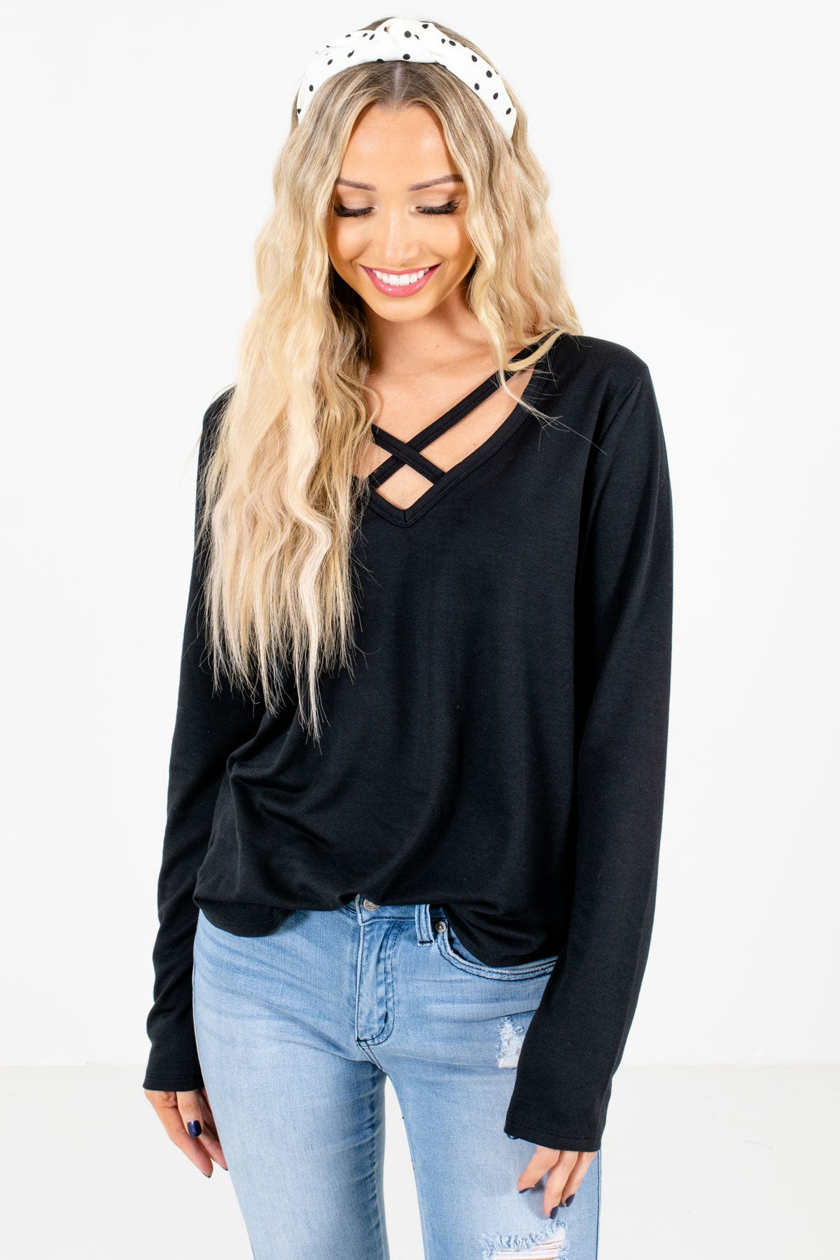 Black Criss-Cross V-Neckline Boutique Tops for Women
