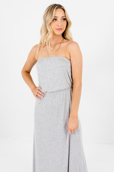 Women's Heather Gray Cute and Comfortable Boutique Maxi Dress