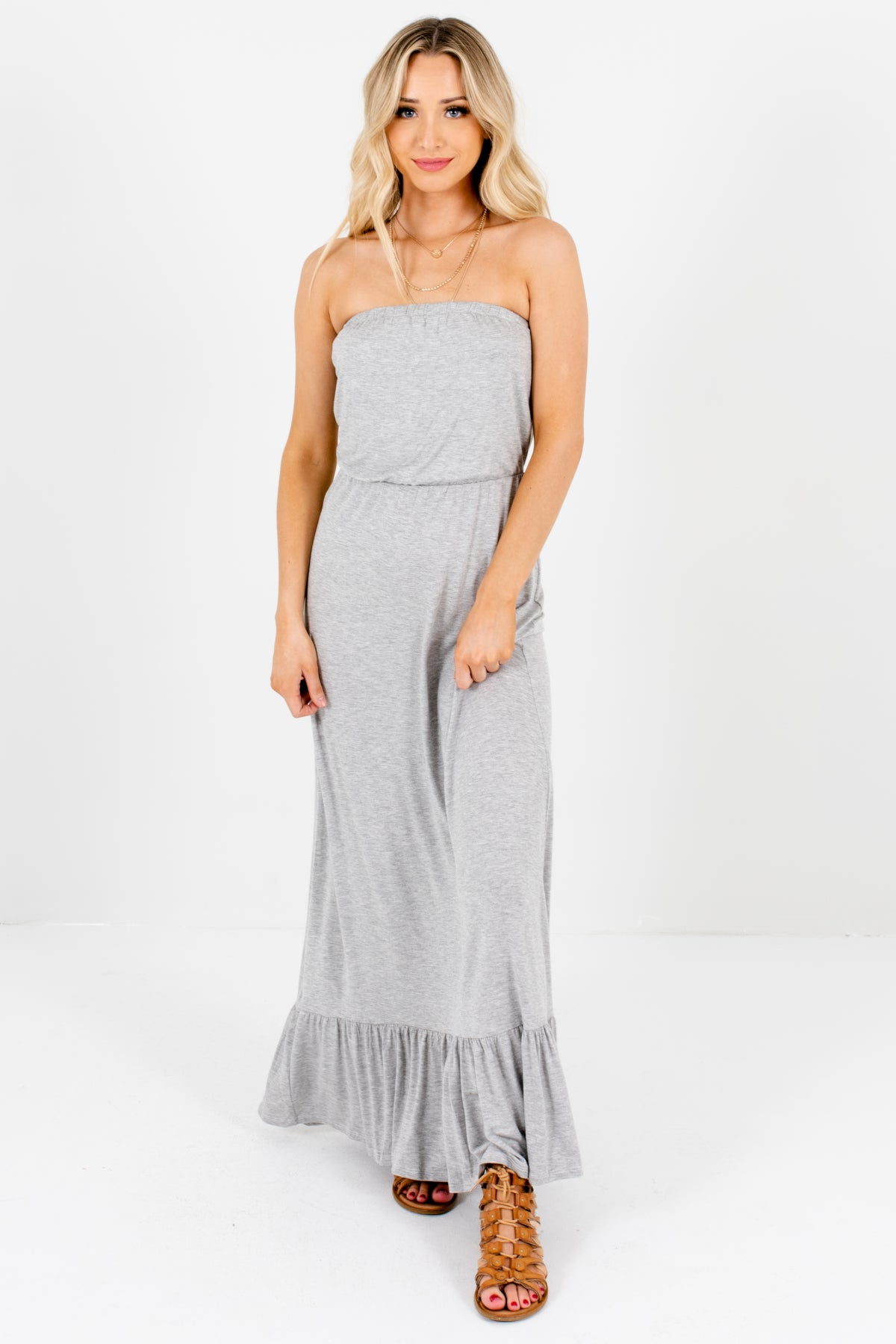 Heather Gray Strapless Style Boutique Maxi Dresses for Women