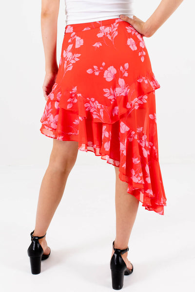 Women's Red and Pink Ruffle Accented Boutique Mini Skirt