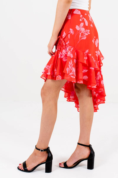 Red and Pink Self-Tie Accented Boutique Mini Dresses for Women