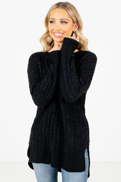 Women's Black Warm and Cozy Boutique Sweaters
