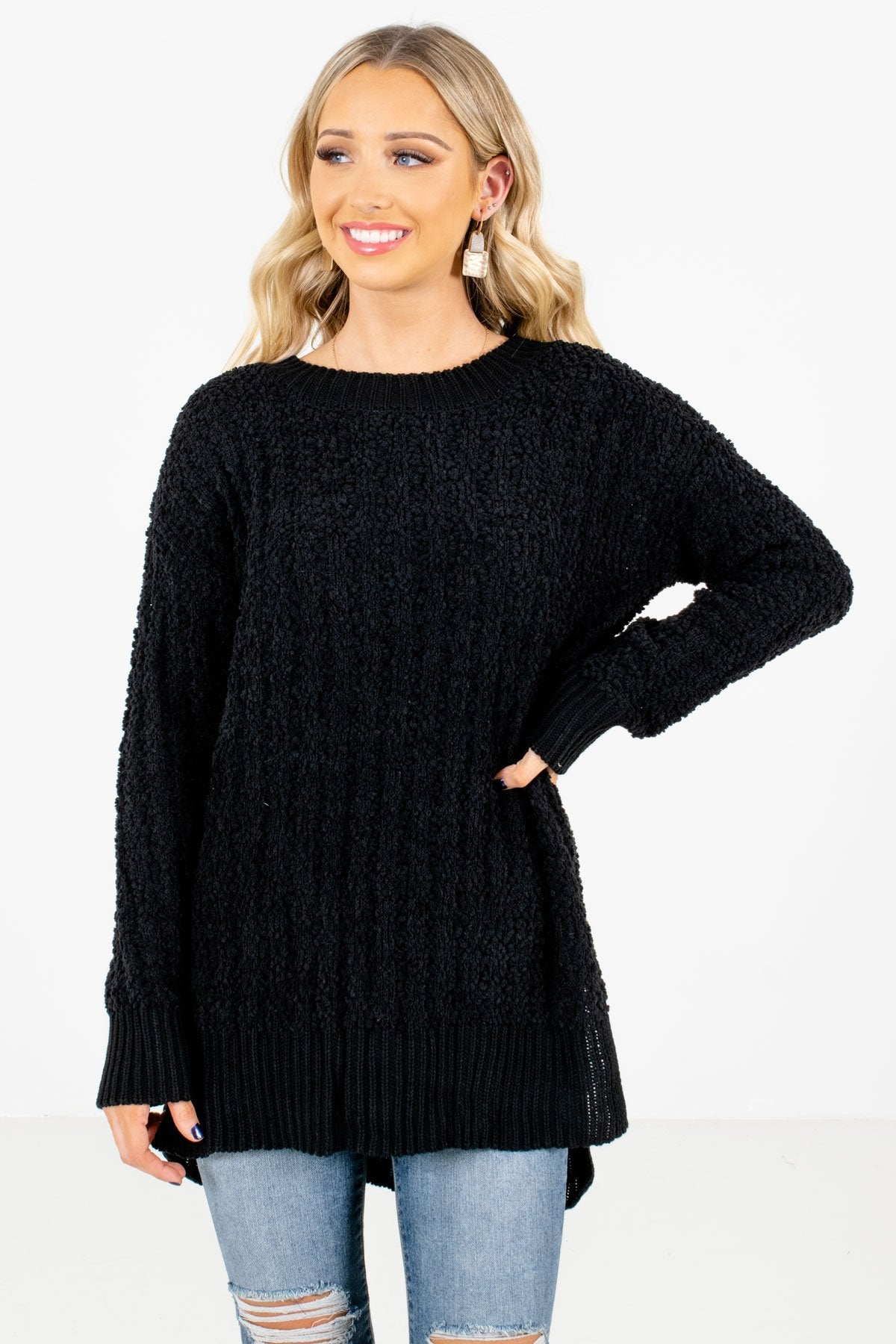Black High-Quality Popcorn Knit Material Boutique Sweaters for Women