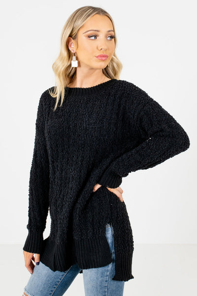 Black Round Neckline Boutique Sweaters for Women