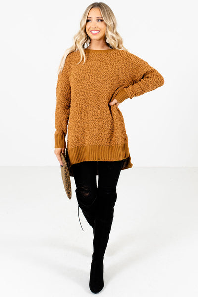 Mustard High-Quality Popcorn Knit Material Boutique Sweaters for Women