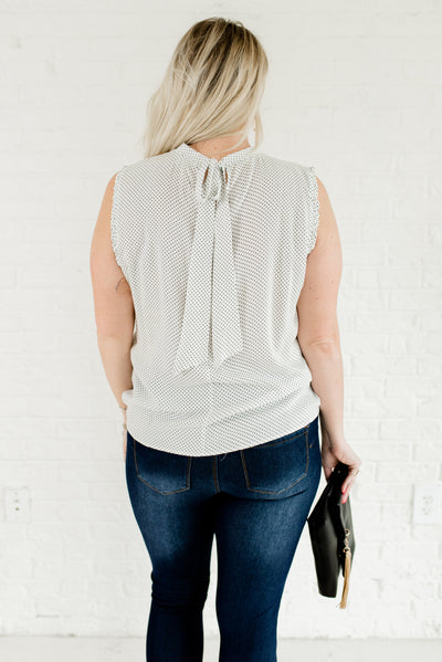 White and Black Women's Ruffled Boutique Blouses