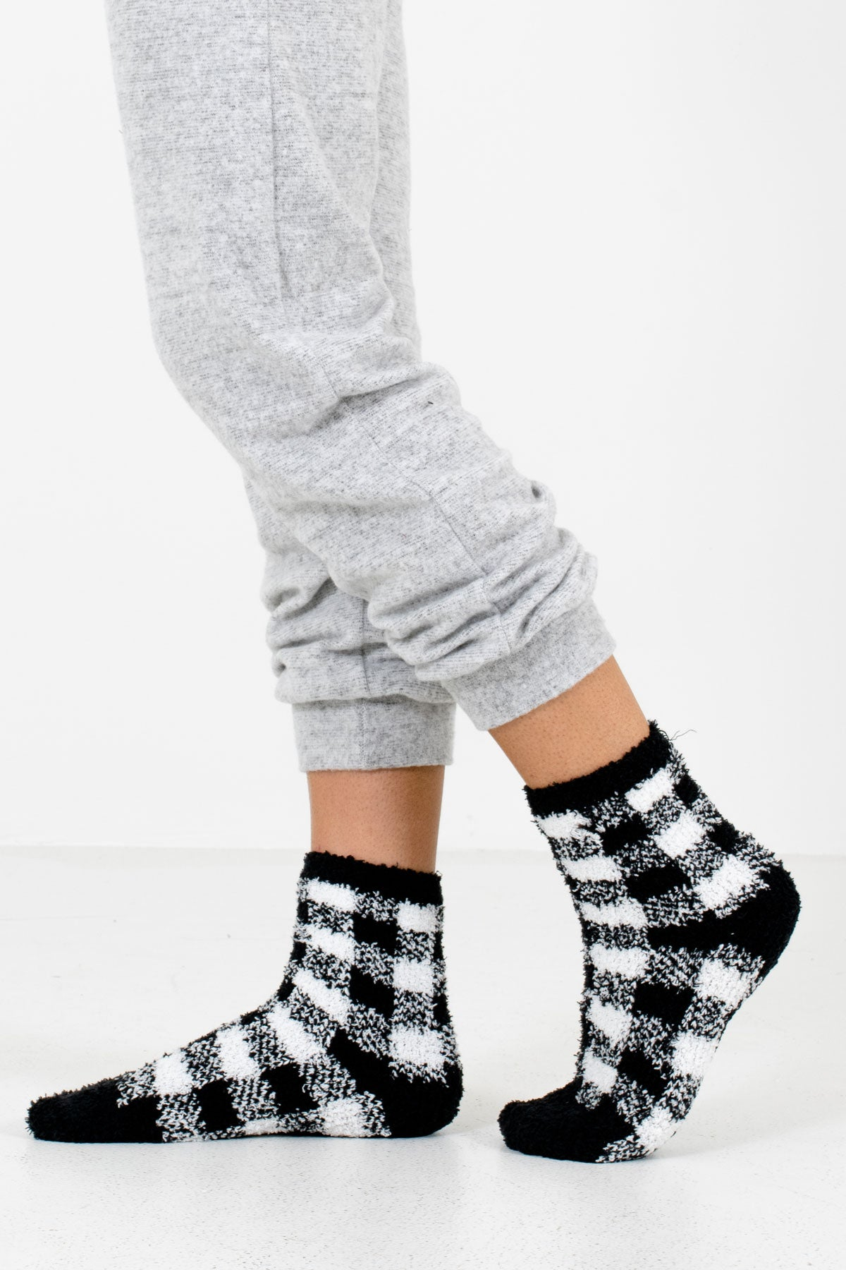 Black and White Plaid Patterned Boutique Socks for Women