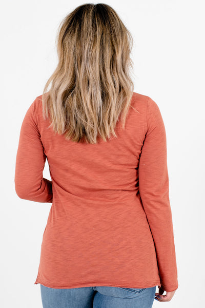 Women's Dark Coral Long Sleeve Boutique Top