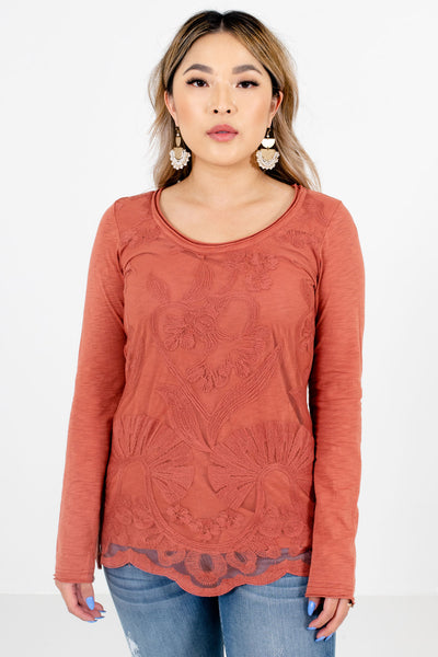 Women's Dark Coral Warm and Cozy Boutique Clothing