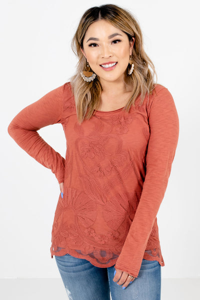 Dark Coral Floral Lace Overlay Boutique Tops for Women