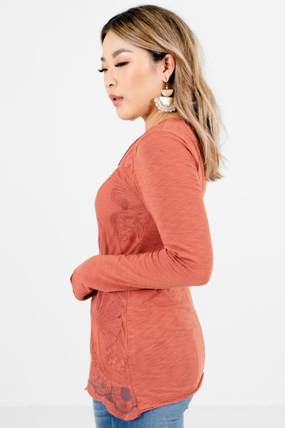 Dark Coral Round Neckline Boutique Tops for Women
