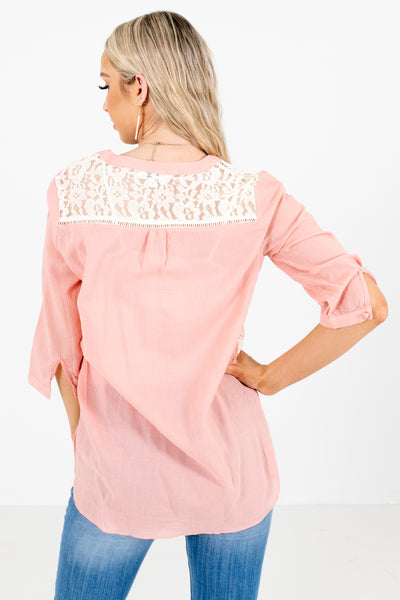 Women's Pink Lace Detailed Boutique Shirt