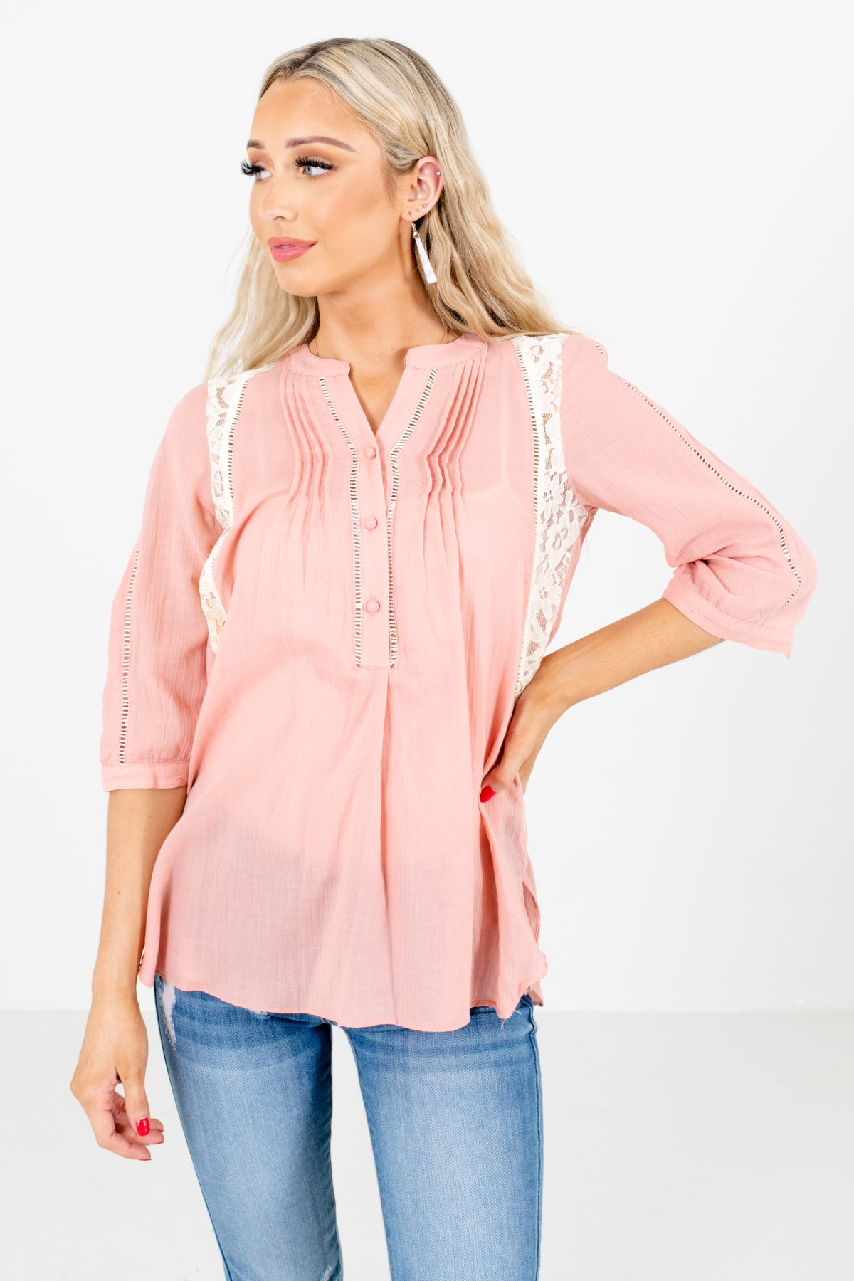 Pink Button-Up Neckline Boutique Shirts for Women