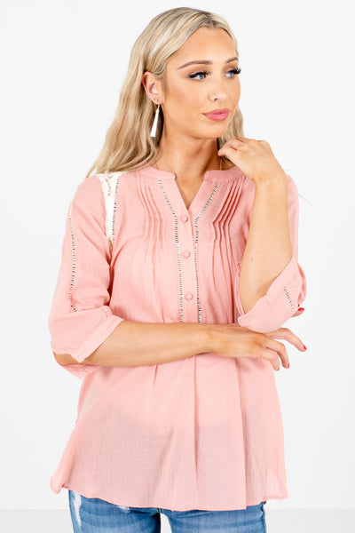 Women's Pink Business Casual Boutique Shirt