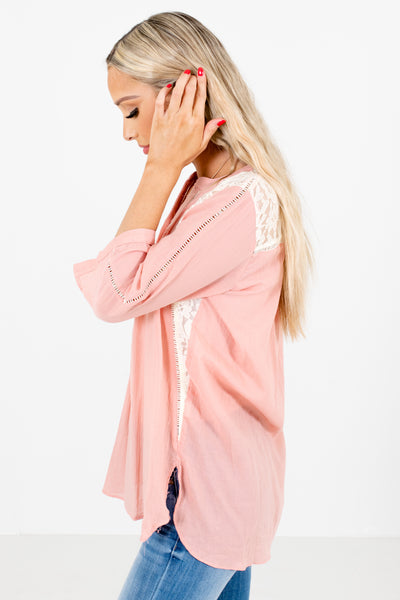 Pink Pleated Accented Boutique Shirts for Women