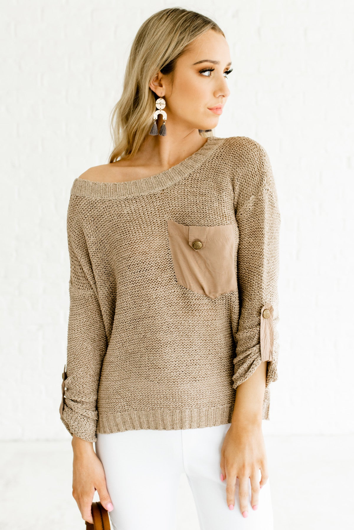 Light Brown Knit Satin Button Sweaters Affordable Online Boutique