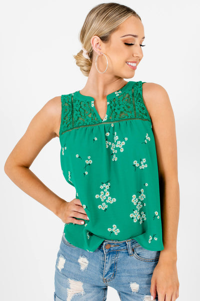 Green Floral Patterned Boutique Tank Tops for Women