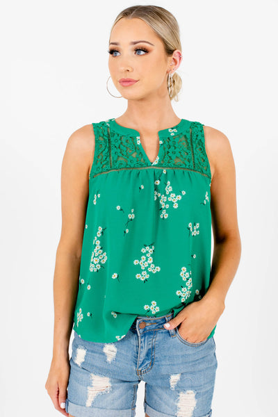 Green Floral Cute and Comfortable Boutique Tank Tops for Women