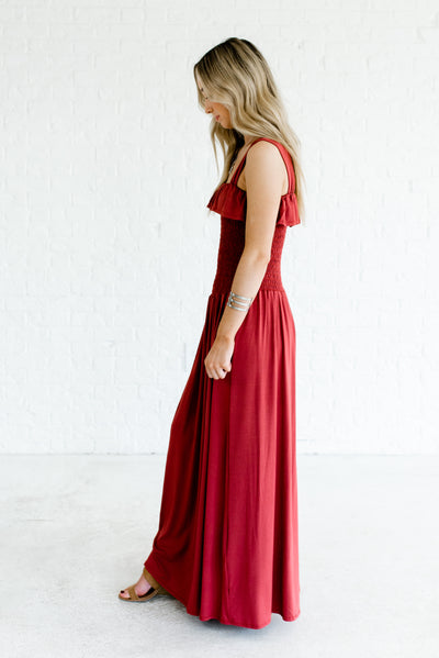 Brick Red Maxi Length Boutique Dresses for Women