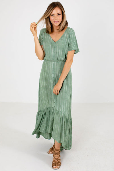 Green and White Patterned Boutique Maxi Dresses for Women