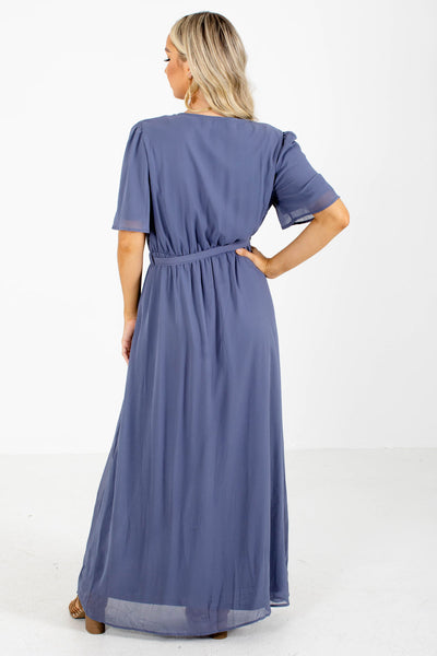 Blue Flutter Sleeve Boutique Maxi Dresses for Women