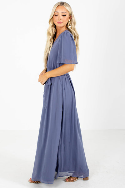 Women's Blue Fully Lined Boutique Maxi Dress