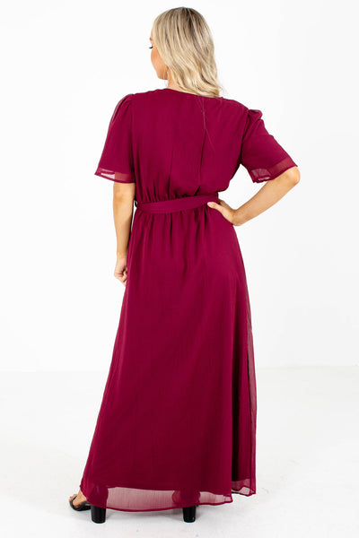 Women's Burgundy V-Neckline Boutique Maxi Dress