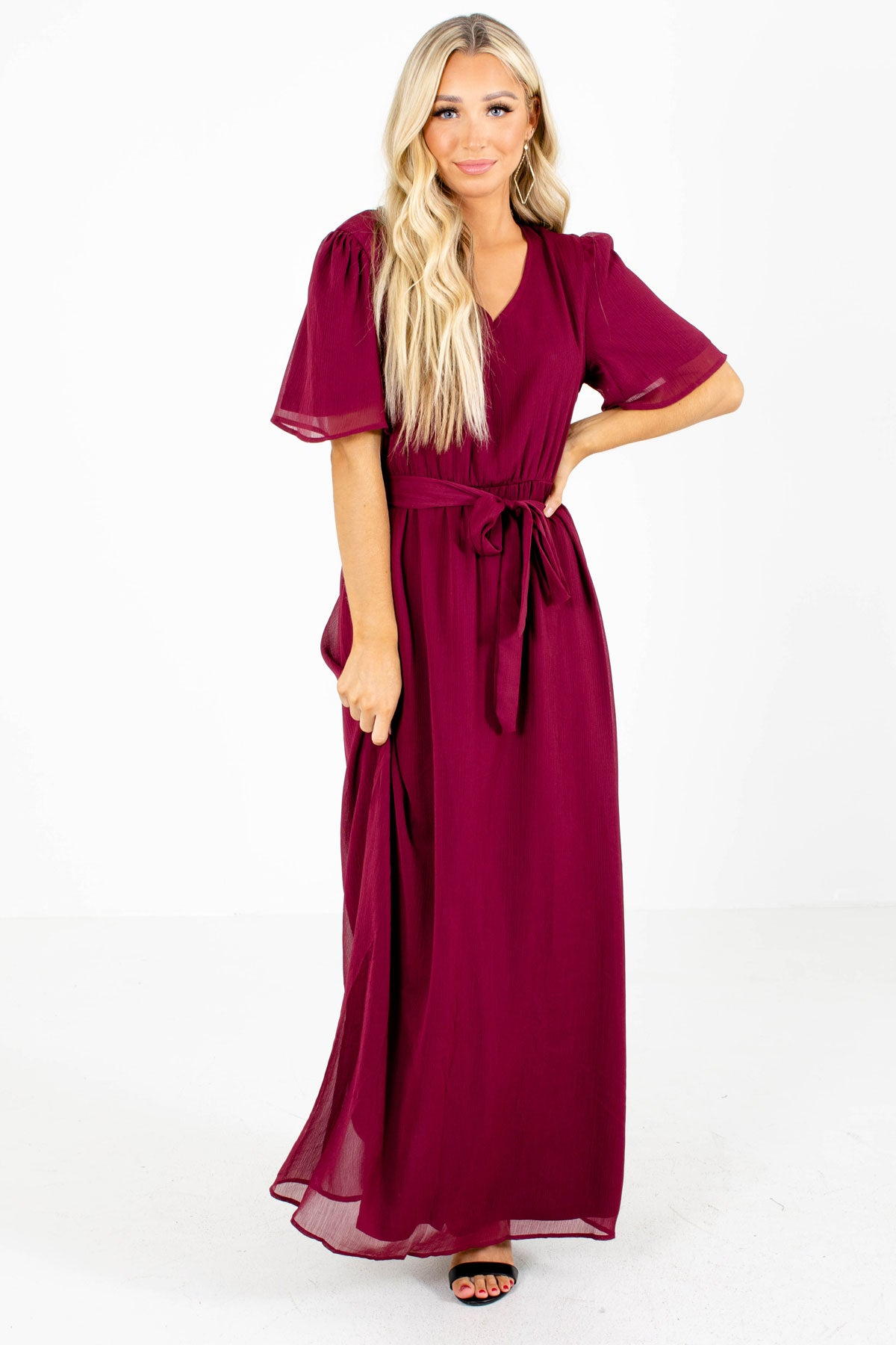 Burgundy Waist Tie Detail Boutique Maxi Dresses for Women