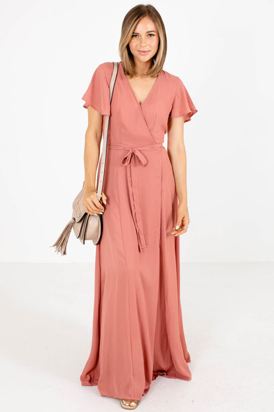 Pink Wrap Style Boutique Maxi Dresses for Women