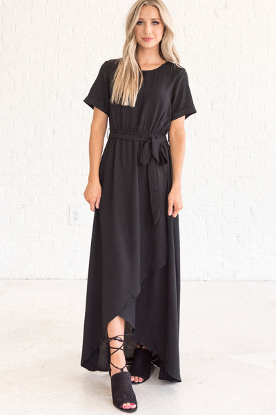 Black Layered Floor Length Dresses