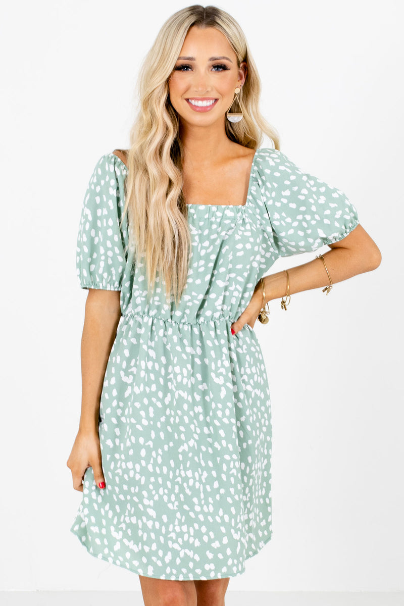 Dandelion Days Green Patterned Mini Dress