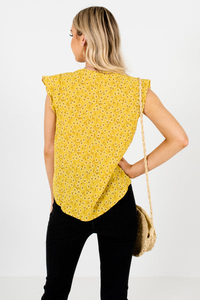 Yellow-Green Dandelion Floral Print Ruffle Blouses for Women