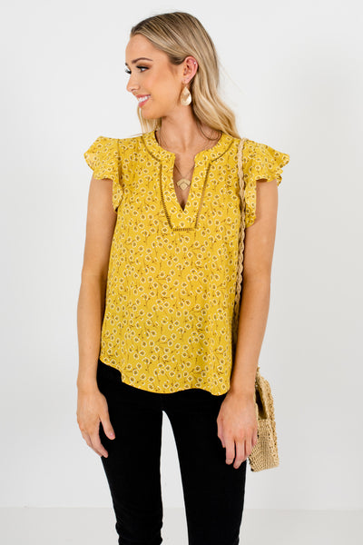 Yellow Dandelion Floral Print Blouses for Mother's Day