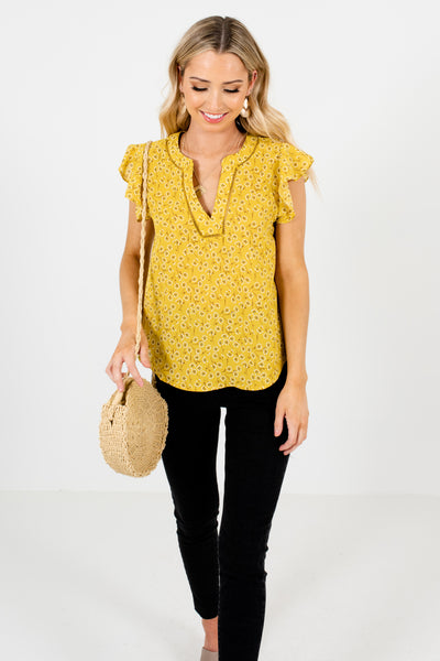 Yellow Dandelion Floral Blouses Affordable Online Boutique
