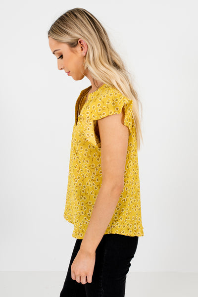 Yellow Floral Dandelion Print Ruffle Blouses for Women