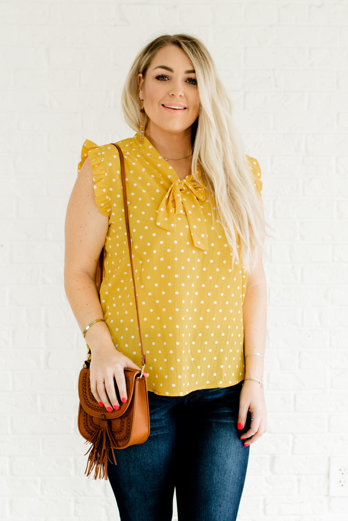 Yellow and White Polka Dot Boutique Plus Size Tops for Women