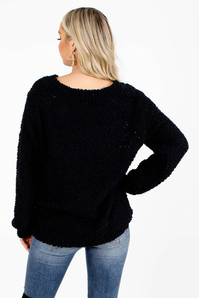 Women's Black Popcorn Knit Boutique Sweater