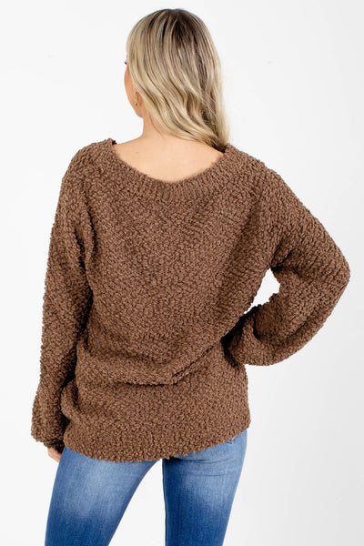 Women's Brown Popcorn Knit Boutique Sweater