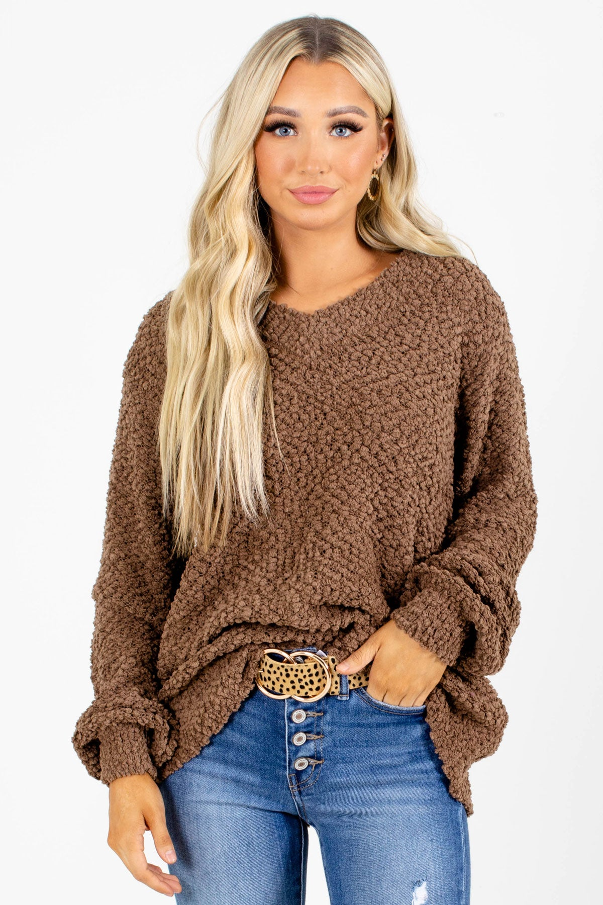Brown V-Neckline Boutique Sweaters for Women