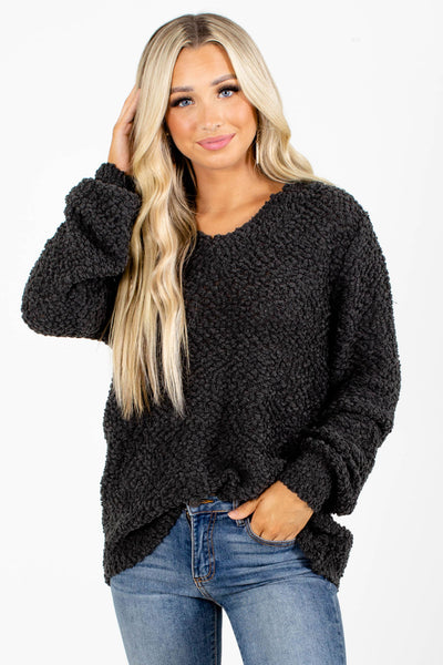 Gray Long Sleeve Boutique Sweaters for Women