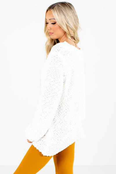 Women's White Warm and Cozy Boutique Sweater