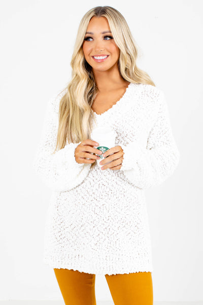 White Cute and Comfortable Boutique Sweaters for Women