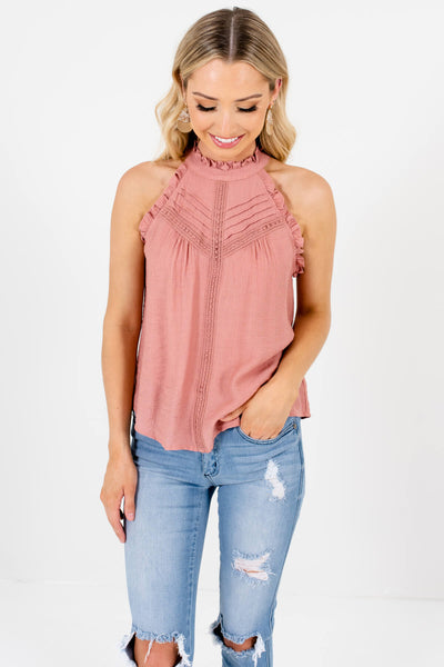 Salmon Pink Ruffle Pleated Crochet Tank Tops Boutique