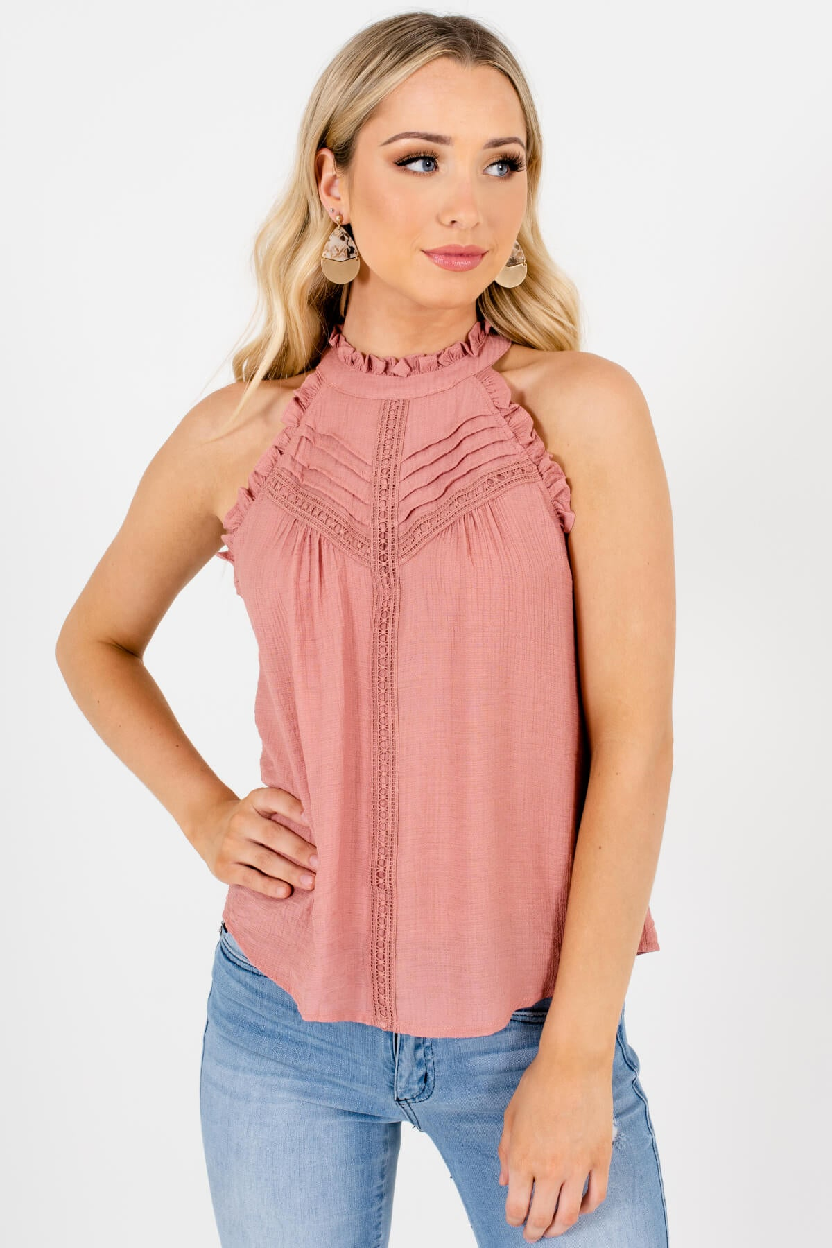 Salmon Pink Crochet Lace Ruffle Pleated Tank Tops for Women