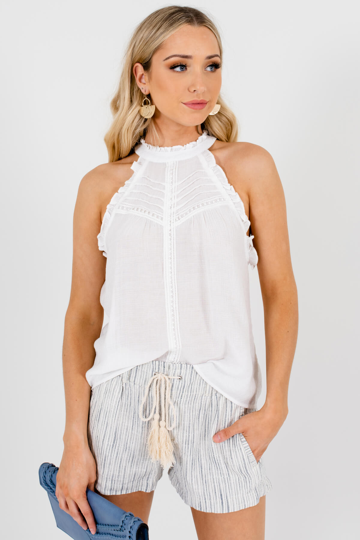 White Ruffle Pleated Crochet Tank Tops Affordable Online Boutique