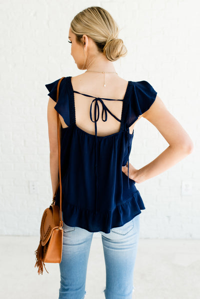 Navy Blue Women's Open Back Boutique Top