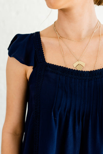 Navy Blue Pleated Bodice Boutique Top for Women