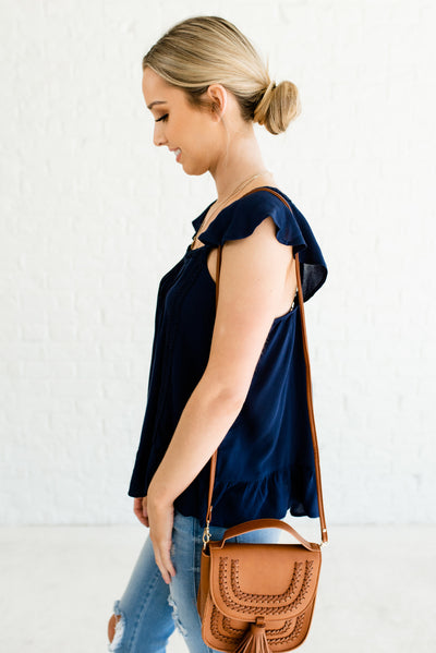 Navy Blue Flowy Flattering Women's Boutique Top